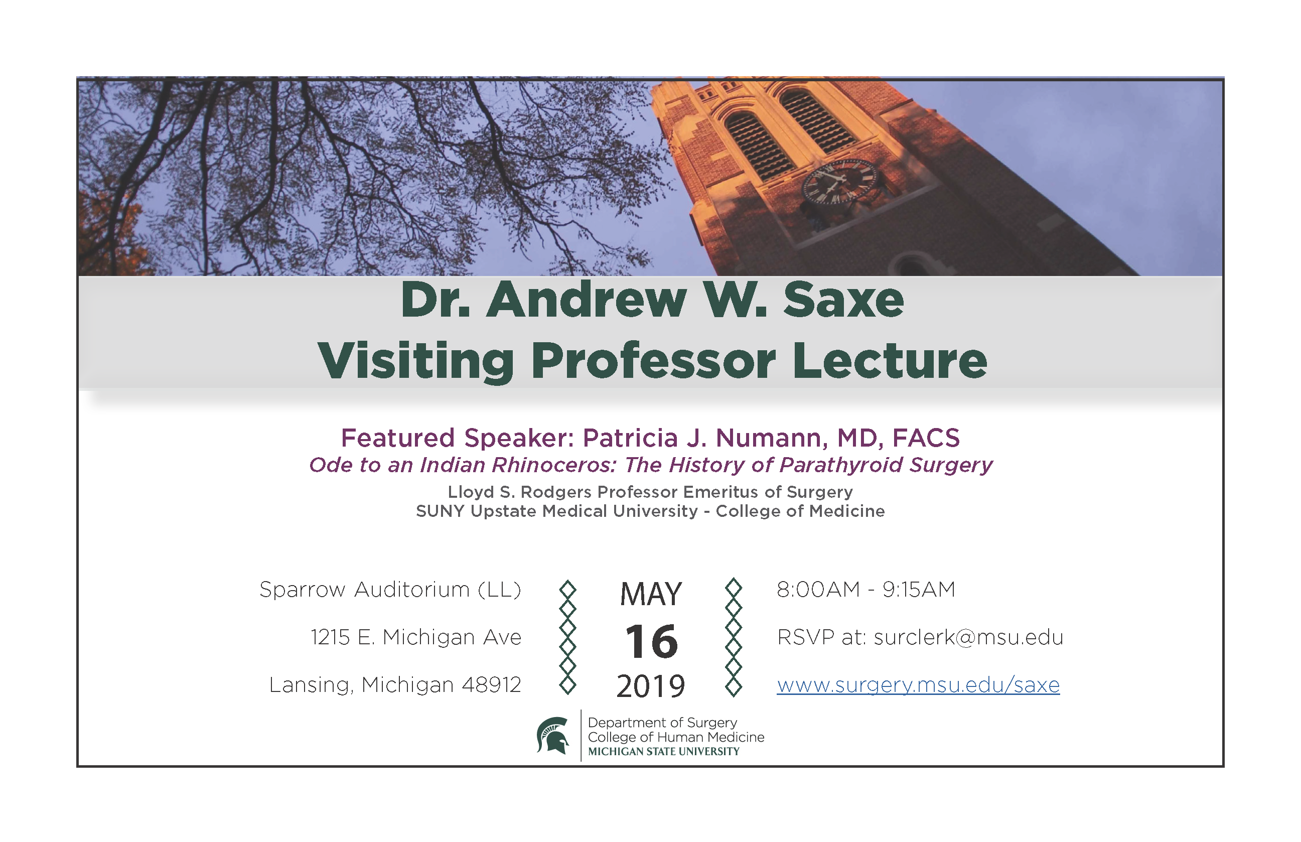 Dr. Saxe Visiting Professor Lecture